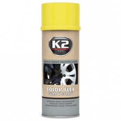 Guma ve spayi K2 COLOR FLEX 400 ml ŽLUTÁ - lak ze syntetického kaučuku