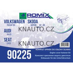 Set sponek krytu motoru ROMIX rx90224 Audi A4 (B5), Škoda Superb I, VW Passat 1997-2005
